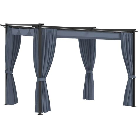 Gazebo with Curtains 3x3 m Anthracite Steel