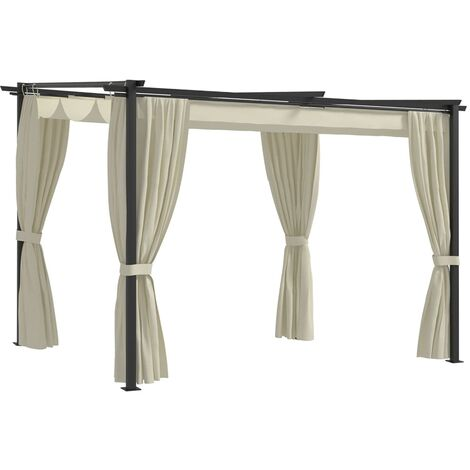 Gazebo with Curtains 3x3 m Cream Steel