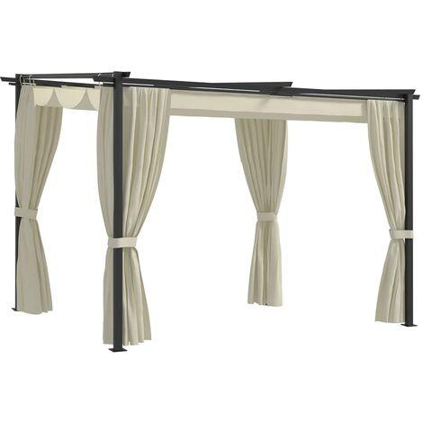 Gazebo with Curtains 3x3 m Cream Steel - Cream
