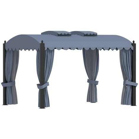 Gazebo with Curtains 3x4 m Anthracite Steel - Anthracite