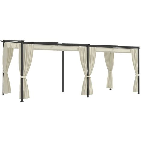 Gazebo with Curtains 3x6 m Cream Steel