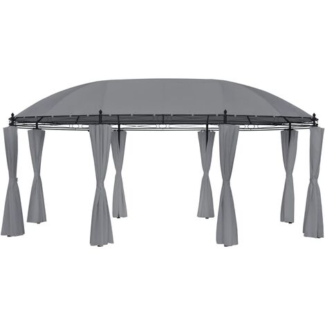 Gazebo with Curtains 530x350x265 cm Anthracite