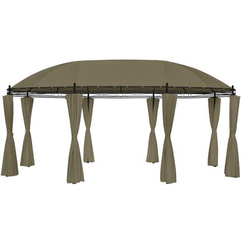 Gazebo with Curtains 5.3x3.5x2.65 m Taupe 180 g/m²