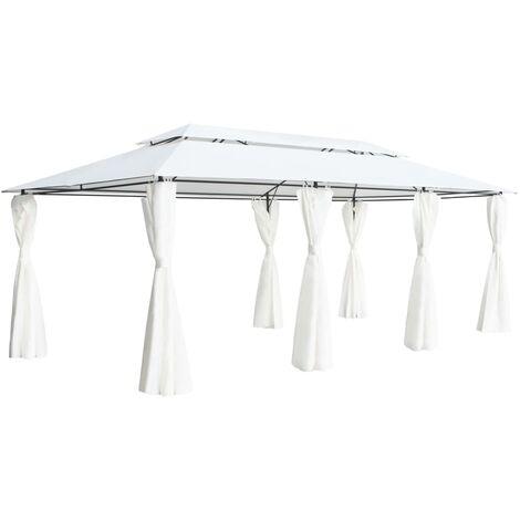 Gazebo with Curtains 600x298x270 cm White 180g/m - White