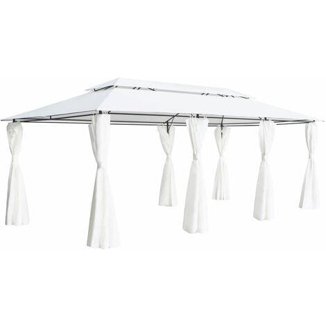 Gazebo with Curtains 600x298x270 cm White