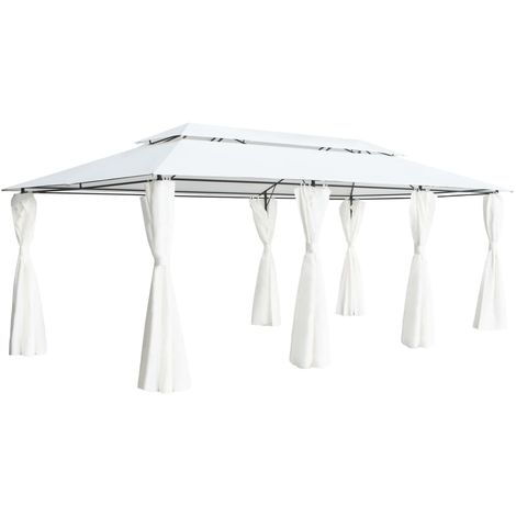Gazebo with Curtains 600x298x270 cm White