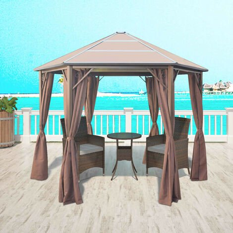 Gazebo with Curtains Aluminium Brown 310x270x265 cm