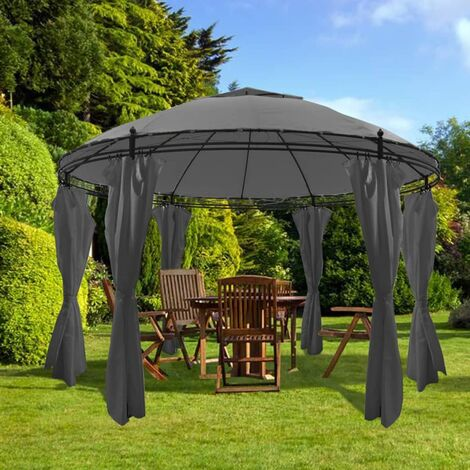 Gazebo with Curtains Round 3.5x2.7 m Anthracite - Anthracite