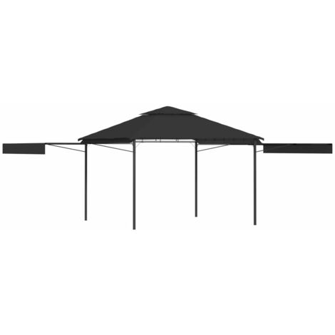 Gazebo with Double Extending Roofs 3x3x2.75 m Anthracite 180g/m - Grey