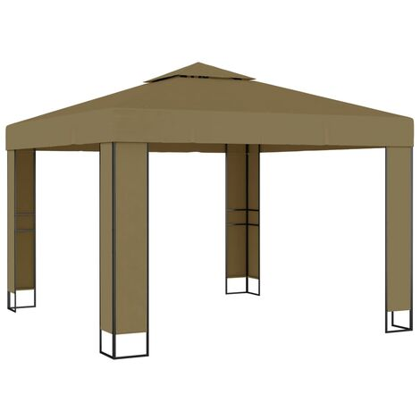 Gazebo with Double Roof 3x3x2.7 m Taupe 180 g/m²