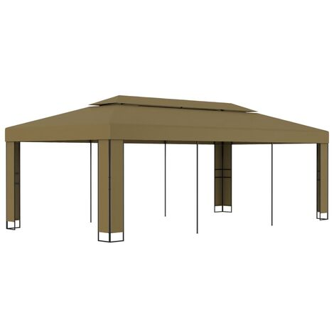 Gazebo with Double Roof 3x6 m Taupe 180 g/m²
