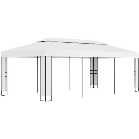 Gazebo with Double Roof 3x6 m White