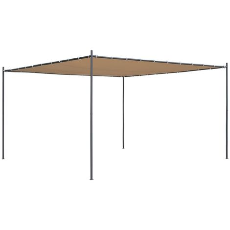 Gazebo with Flat Roof 4x4x2.4 m Beige