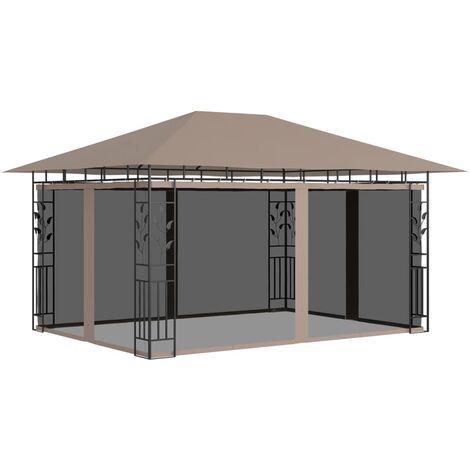 Gazebo with Mosquito Net 4x3x2.73 m Taupe 180 g/m²