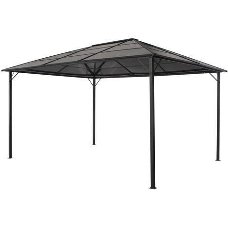 Gazebo with Roof Aluminium 4x3x2.6 m Black