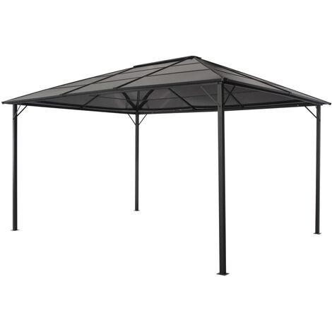 Gazebo with Roof Aluminium 4x3x2.6 m Black