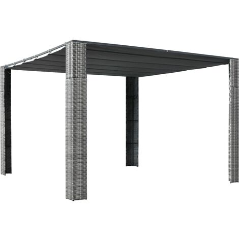 Gazebo with Roof Poly Rattan 300x300x200 cm Grey and Anthracite