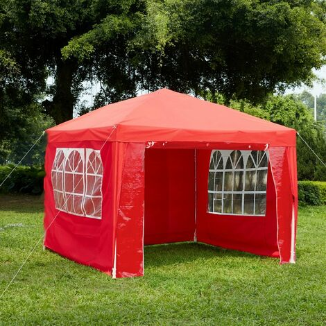 Gazebo With Sides 3x3m, Red