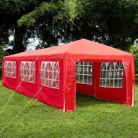 Gazebo With Sides 3x9m, Red