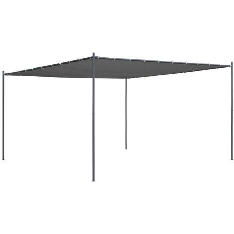 Gazebo with Slanted Roof 400x400x264 cm Anthracite 180 g/m²