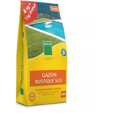 Gazon Rustique SUD, marque BHS, sac de 5 kilos dont 1 gratuit, 200m²