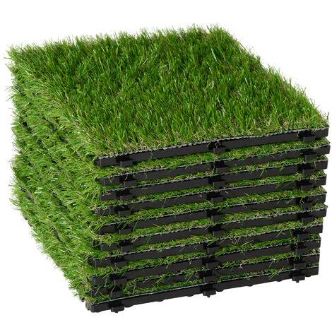 Gazon synthétique artificiel set de 10 dalles carreaux 30 x 30 cm épaisseur confort 2,5 cm à emboîter vert