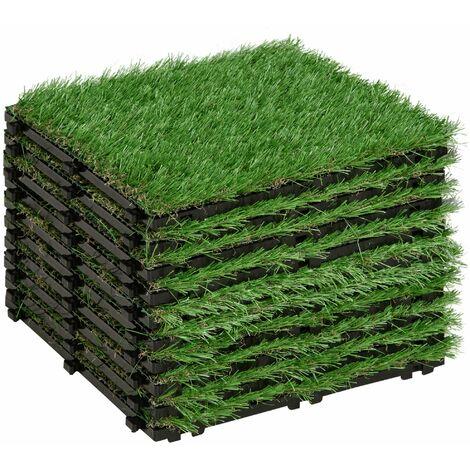 Gazon synthétique artificiel set de 10 dalles carreaux 30 x 30 cm épaisseur confort 3,5 cm à emboîter vert