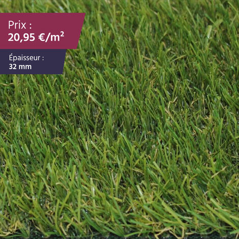"""Gazon synthétique haut de gamme Faux gazon gazon artificiel pelouse synthétique pelouse artificielle   Épaisseur : 32 mm   Largeur : 2m   Collection """"Villefranche"""""""