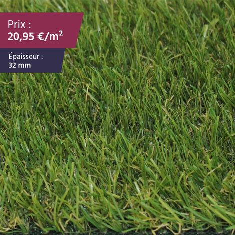 """Gazon synthétique haut de gamme Faux gazon gazon artificiel pelouse synthétique pelouse artificielle   Épaisseur : 32 mm   Largeur : 4m   Collection """"Villefranche"""""""