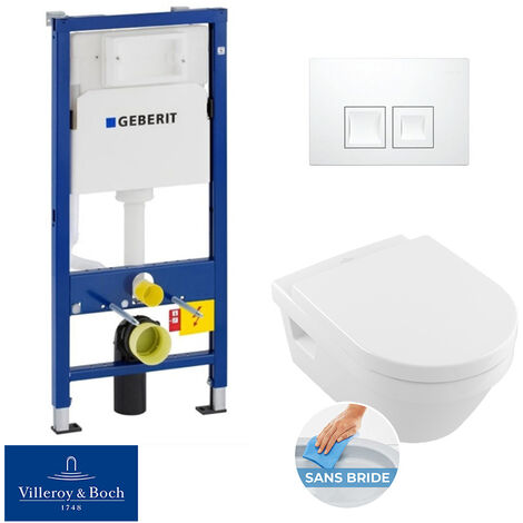 Geberit bâti-support UP100 + plaque Delta50 + cuvette Villeroy & Boch Architectura sans bride + abattant softclose (ArchiRimlessGeb1)