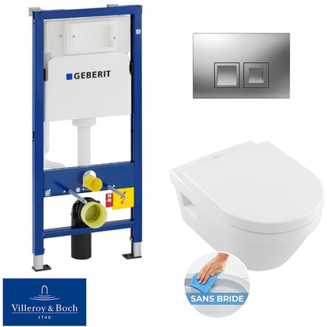 Geberit bâti-support UP100 + plaque Delta50 + cuvette Villeroy & Boch Architectura sans bride + abattant softclose (ArchiRimlessGeb2)