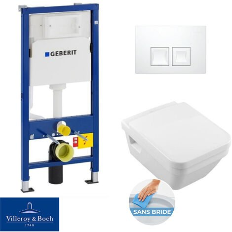 Geberit bâti-support UP100 + plaque Delta50 + cuvette Villeroy & Boch Architectura sans bride + abattant softclose (ArchiRimlessGeb3)