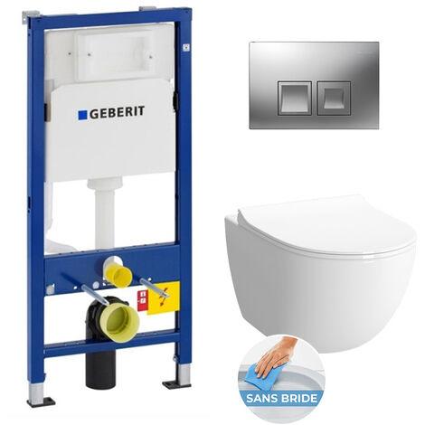 Geberit Complete WC Pack GEBERIT DuofixBasic + Bowl VITRA SENTO with seat Slim SoftClose + Flush plate Delta 50 Chrome