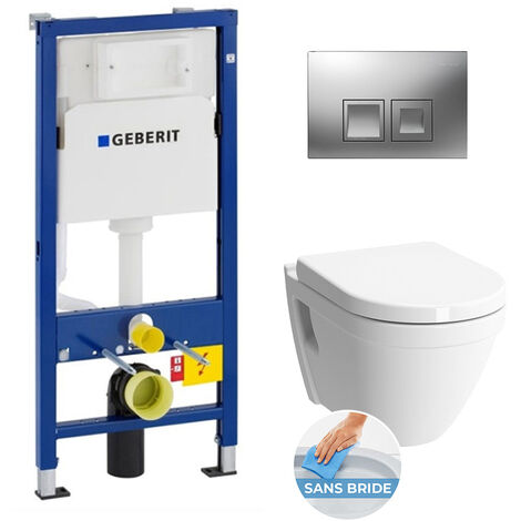 Geberit Complete WC Pack GEBERIT DuofixBasic + VITRA Bowl S50 RimEx with seat softclose + Flush plate Delta 50 Chrome (S50rimless-GEB2)
