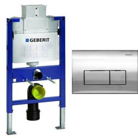 Geberit Duofix 0.82m WC Toilet Frame UP320 Kappa Cistern + KAPPA50 Gloss Chrome