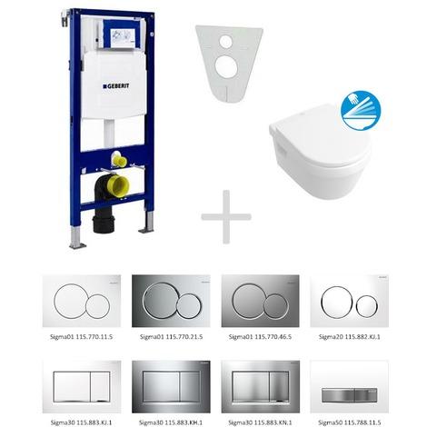 Geberit Duofix Toilet Pack + Villeroy & Boch Bowl Softclose + Geberit Sigma01 Chrome Control (111.300.00.5NB3)