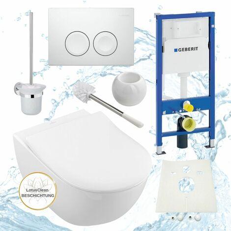 Geberit Duofix Vorwandelement, V&B Subway 2.0 spülrandlos, Beschichtung, Delta21, Kpl-Set, WC-Bürste