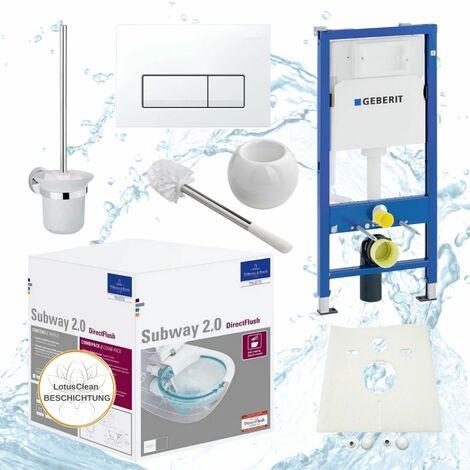 Geberit Duofix Vorwandelement, V&B Subway 2.0 spülrandlos, Beschichtung, Delta51, Kpl-Set, WC-Bürste