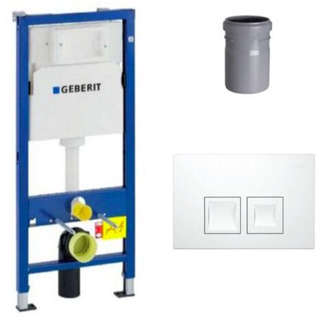 Geberit Ensemble bâti-support Duofix UP100 + réservoir pour WC 112 cm + Plaque DELTA50 + Manchon de raccordement (458.103.00.1-1)