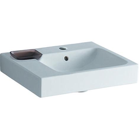 Geberit iCon lavabo 50x48,5cm blanc, 124150 avec cuvette décorative à gauche, Coloris: Blanc - 124150000