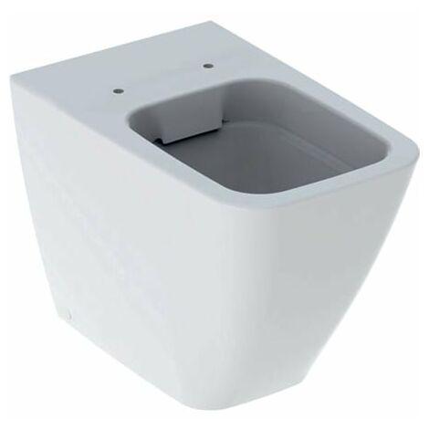 Geberit iCon Square Rondelle WC autoportante, au ras du mur 211910, 6l, sans bord, forme fermée, Coloris: Blanc, avec KeraTect - 211910600