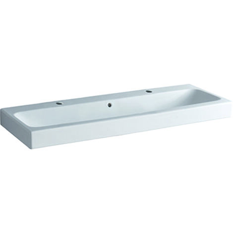 Geberit iCon washbasin 120x48,5cm white, 124020 with two tap holes, colour: White, with KeraTect - 124020600