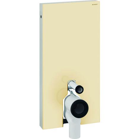 Geberit Monolith Sanitärmodul für Stand-WC, 101cm, Wasseranschluss seitlich, mit P-Anschlussstutzen, Farbe: Glas sand - 131.003.TG.5