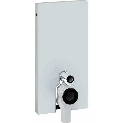 Geberit Monolith Sanitärmodul für Stand-WC, 101cm, Wasseranschluss seitlich, mit P-Anschlussstutzen, Farbe: Glas Weiß - 131.003.SI.5
