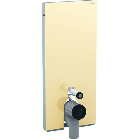 Geberit Monolith Sanitärmodul für Stand-WC, 114cm, Wasseranschluss hintn mittig, mit P-Anschlussbogen, Farbe: Glas sand - 131.033.TG.5