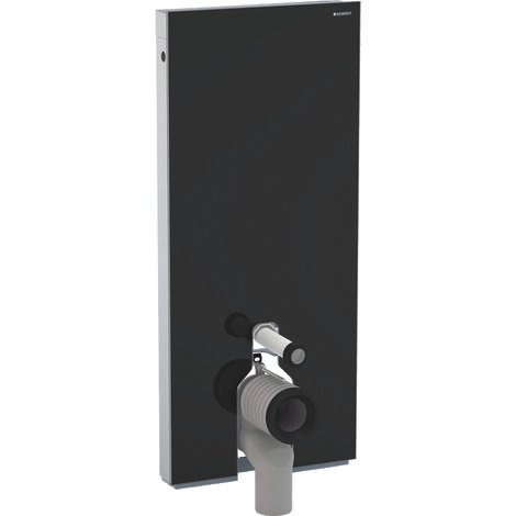 Geberit Monolith Sanitärmodul für Stand-WC, 114cm, Wasseranschluss hintn mittig, mit P-Anschlussbogen, Farbe: Glas Schwarz - 131.033.SJ.5