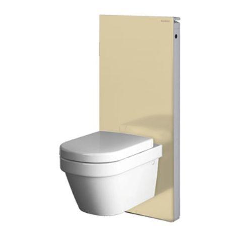 Geberit Monolith Sanitärmodul für Wand-WC, 101cm, Wasseranschluss seitlich, mit Anschlussstutzen, Farbe: Glas sand - 131.022.TG.5