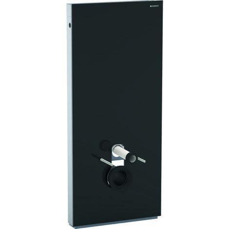 Geberit Monolith Sanitärmodul für Wand-WC, 114cm, Wasseranschluss hinten mittig, mit Anschlussstutzen, Farbe: Glas Schwarz - 131.031.SJ.5