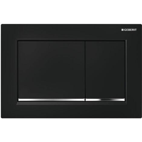 Geberit Omega30 Dual Flush Plate - Black/Gloss Chrome
