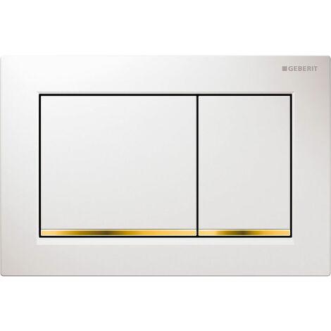 Geberit Omega30 Dual Flush Plate - White/Gold Plated
